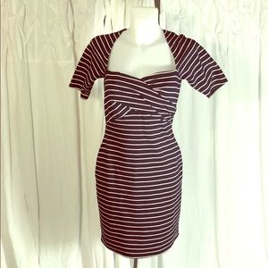 Navy/White Stripes 1/4 Sleeve Miss Sixty Dress 4